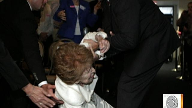 Nancy Reagan takes a tumble, not badly hurt