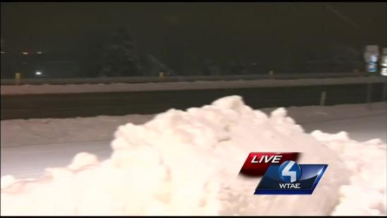 Snow piles up in New Castle