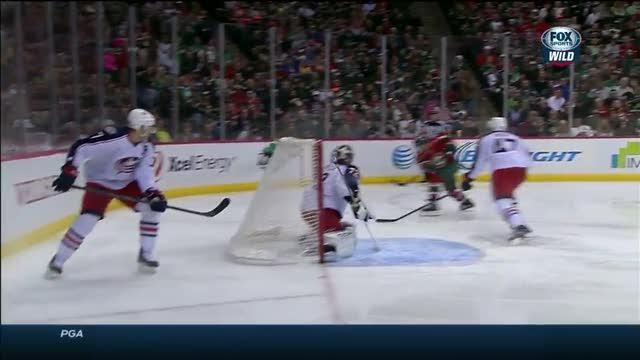 Pominville buries a feed from behind the net