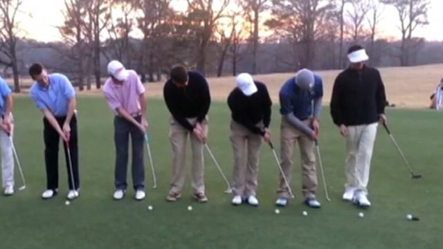 9 Golfers Putt 9 Balls Into One Hole