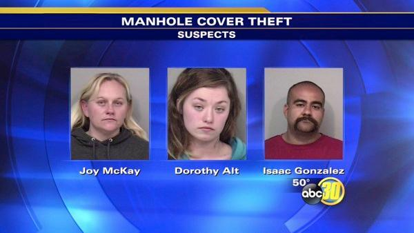 3 arrested for manhole cover theft in Madera Co