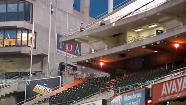 Two injured after woman jumps from Coliseum deck