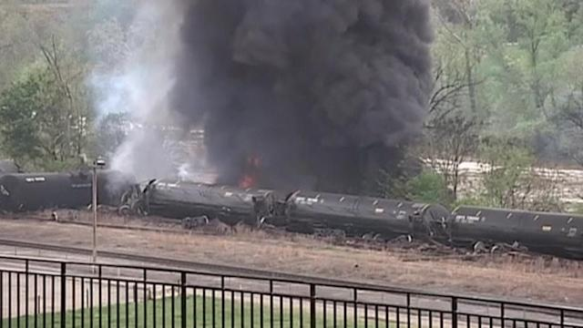 Smoke and flames after train derails in Virginia