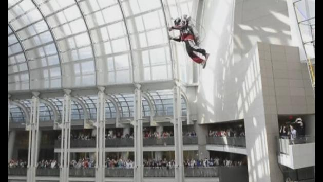 Man blasts off in hydrogen and nitrogen-powered jet pack