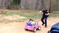 "Officer dad pulls over kids for being ""too cute"""