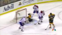 Vanek deflects one over Rask on the PP