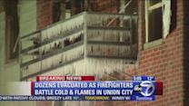Firefighters battle flames, ice in Union City