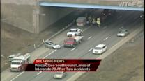 2 crashes shut down part of I-79