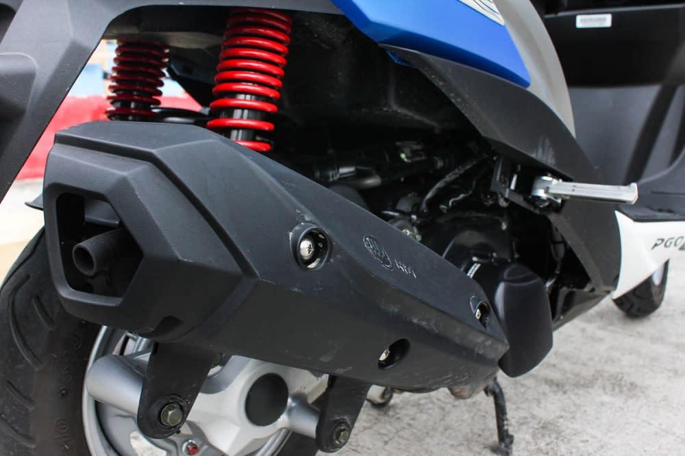 個人相當喜愛PGO車系的排氣聲浪,Bon 125也不例外。而全包覆式的防燙蓋,造型也與車身線條有所呼應。