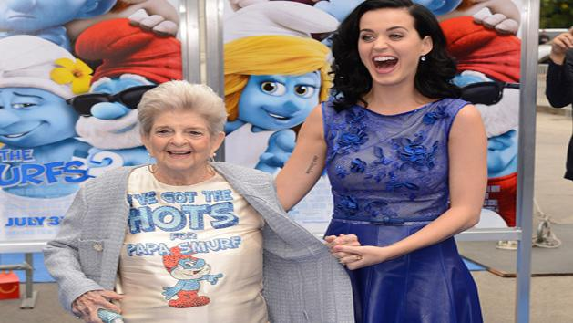 Katy Perry takes her grandma Ann Hudson to the smurfs 2 premiere in Los Angeles!