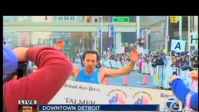 First marathoner finishes