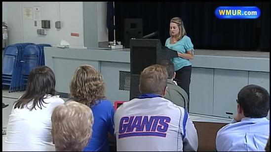 Boston Marathon bombing victim visits NH school