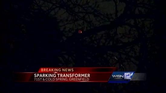 Transformer sparks in Greenfield