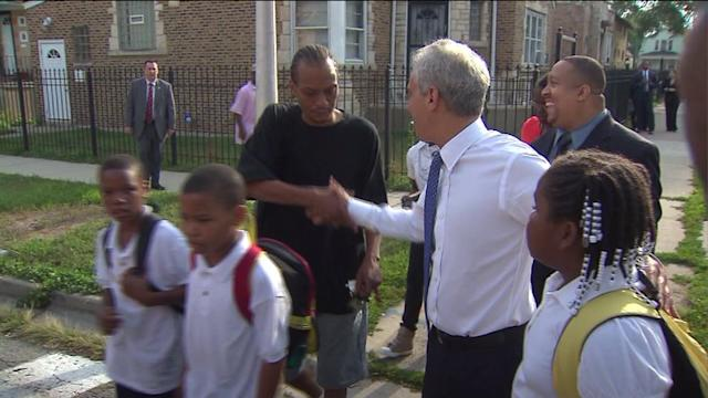 Mayor Optimistic, Walks Students to School on `Safe Passage` Route