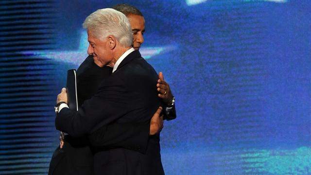 Obama joins Clinton on DNC stage