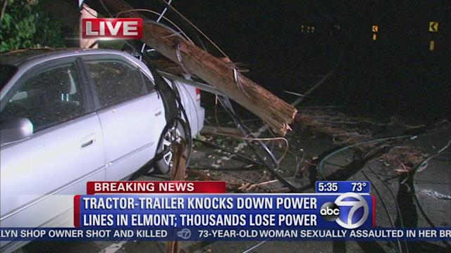 Tractor-trailer knocks out power to thousands
