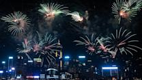 Fireworks Mark China's National Day in Hong Kong