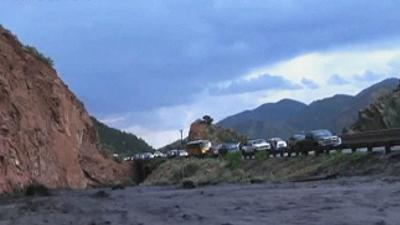 RAW: Mudslide Sweeps Colo. Driver Off Highway