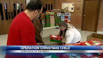 Church collecting items for Operation Christmas Child