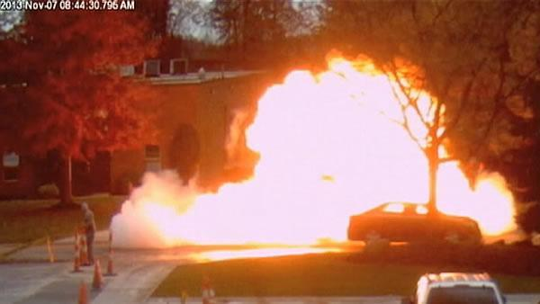 Forklift driver escapes fiery propane explosion
