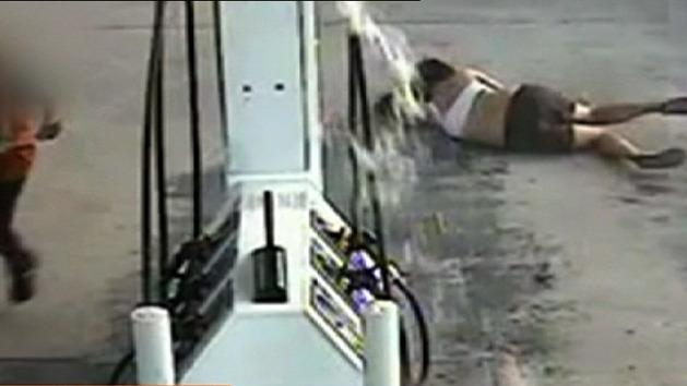 Woman floored after petrol drive off