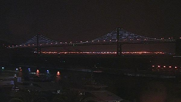 Bay Bridge lights dazzle Bay Area
