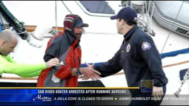 San Diego boater arrested after running aground