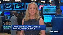 Dow wipes out losses for month of May