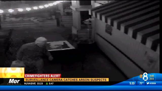 Surveillance camera catches arson suspects