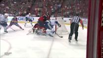 Burrows adjusts his stick to score in front