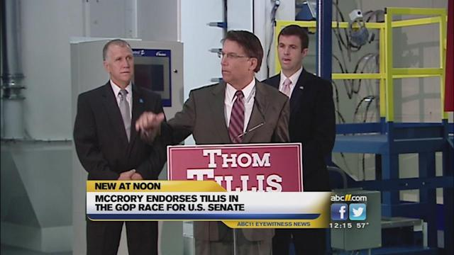 McCrory endorses Tillis in Senate race