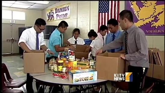 Damien Memorial students hold food drive for typhoon survivors