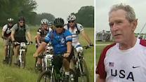 President Bush rides with wounded vets