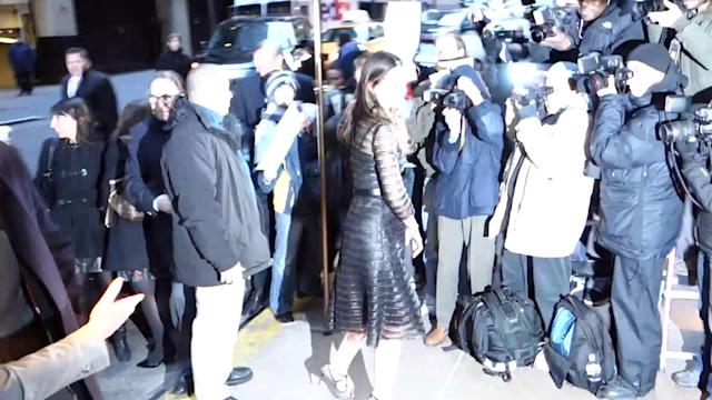 Katie Holmes Wows in Unusual Netted Black Dress