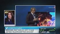 Michael Bay walks off stage at CES