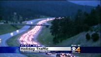 Heavy Traffic Clogs I-70 West To Mountains