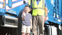 Young Garbage Truck Fan Gets Birthday Surprise