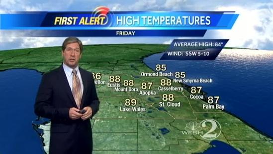 Cooler temps Friday