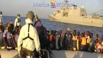 Italian Navy Rescues Migrants From Dinghy in Mediterranean