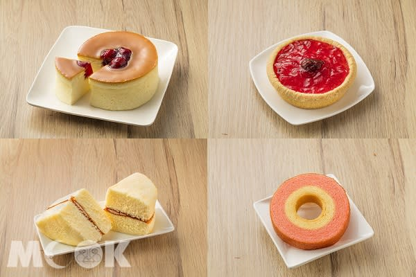草莓乳酪華爾滋、草莓生乳酪塔、草莓經典海綿蛋糕、草莓牛奶年輪蛋糕