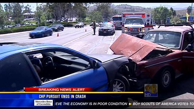 CHP pursuit ends in crash