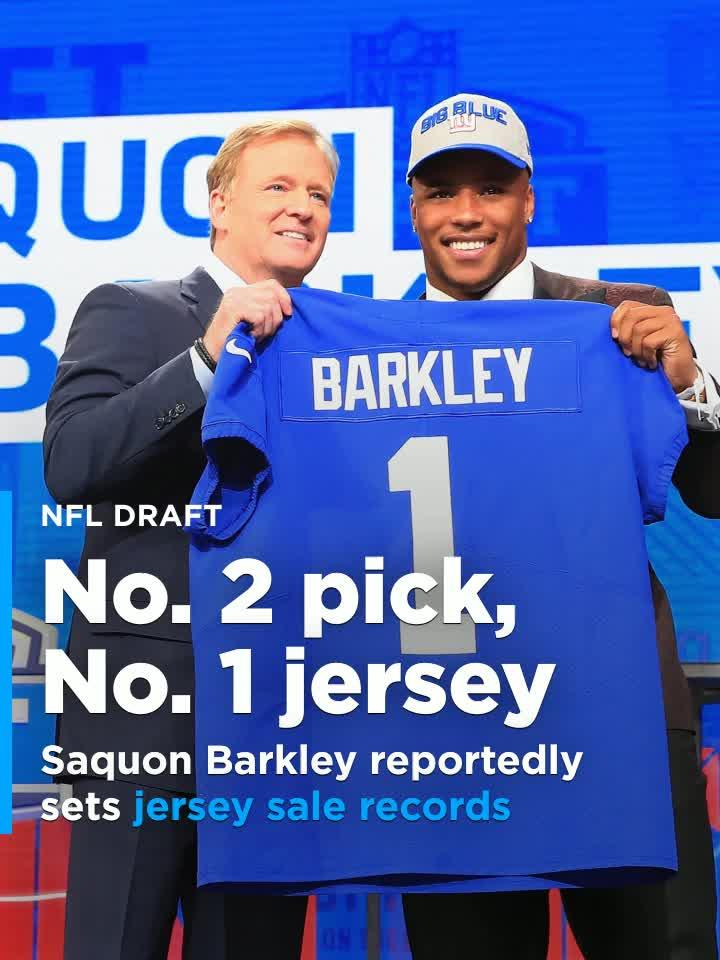 Giants RB Saquon Barkley reportedly sold more jerseys in NFL history on  draft night  Video  96cdd188e