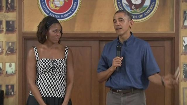 President Barack Obama and wife Michelle visit Marine Corps base on Christmas Day