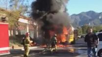 School Bus Explodes in Flames Moments After Students Evacuate