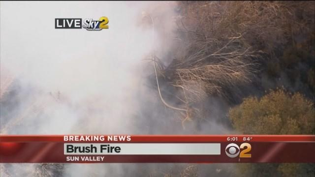 Crews Battle To Contain Brush Fire In Sun Valley