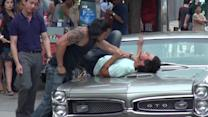Taylor Lautner Gets Beating on 'Tracers' Set