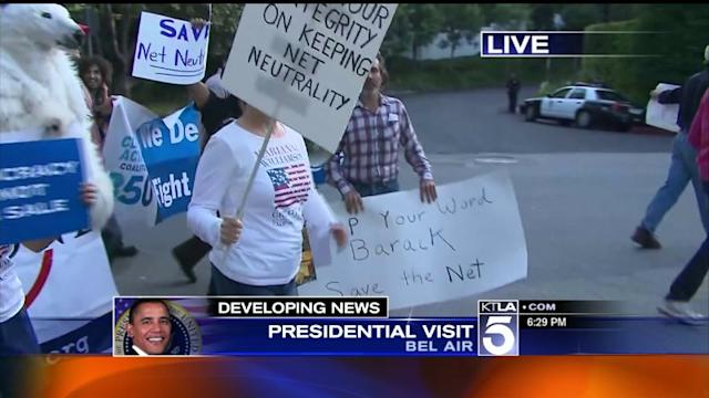 Demonstrations Protest Keystone Pipeline During Presidential Visit to L.A.