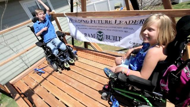Wheelchair Swing Built for Twins with Cerebral Palsy