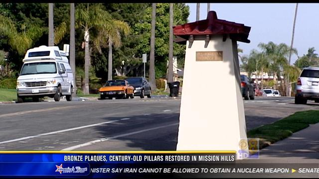 Bronze plaques, century-old pillars restored in Mission Hills