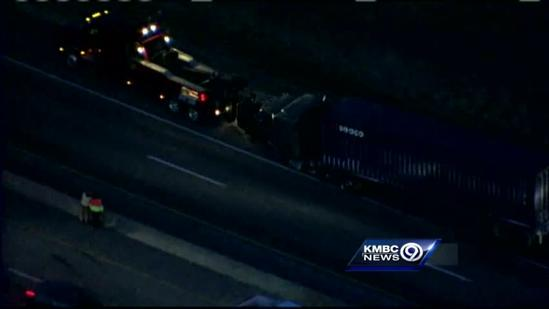 Tractor-trailer hits median wall on I-70 near Lawrence